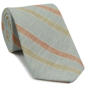 Sky Blue, Burnt Orange, Dark Sand, Sand & White Linen Striped Tie #1