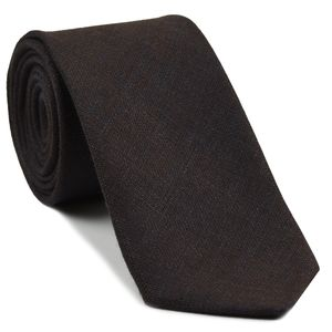 Dark Chocolate (Chocolate & Midnight Blue) Linen Tie #6