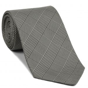 Black & White Prince Of Wales Silk Tie #PWT-4