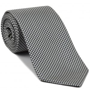 Midnight Blue & White Shepherd's Check Silk Tie #28