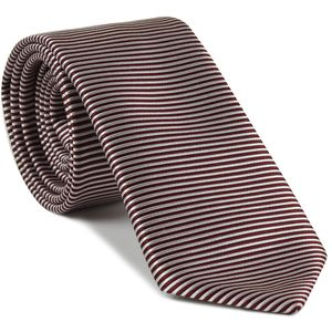 Burgundy & White Striped Silk Tie #SST-26