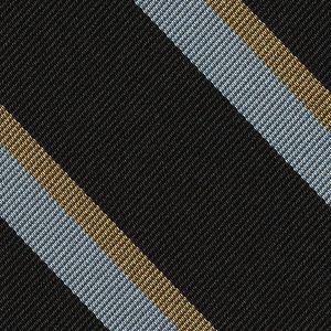 Wadham College Oxford Stripe Silk Tie #UKU-43 - Silver White & Soft Gold on Black