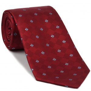 Sky Blue on Red English Geometric Silk Tie #EGT-14