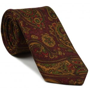 Gold, Green & Red on Burgundy Macclesfield Madder Printed Silk Tie #MT-18
