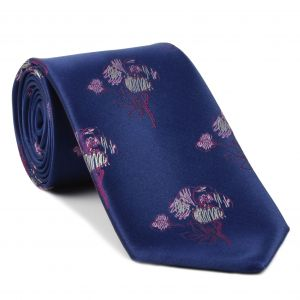 Dark Red, White & Pink on Navy Blue Flower Silk Tie #FT-24