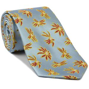 Red, Yellow & White on Light Blue Flower Silk Tie # 26