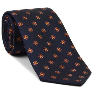 Burnt Orange, Yellow Gold & White Flower on Midnight Blue Silk Tie #28