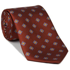 Sky Blue, White & Yellow Gold Flower On Red/Orange - Flower Silk Tie #FT-32