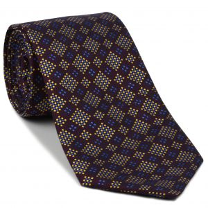 Yellow-Gold, Blue, Navy Blue on Red-Violet Pattern Silk Tie #EPT-16