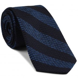Sky Blue & Midnight Blue Grenadine Grossa Wide Stripe Silk Ties #GGBST-2
