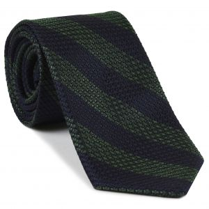 Dark Olive Green & Midnight Blue Grenadine Grossa Wide Stripe Silk Ties #GGBST-8
