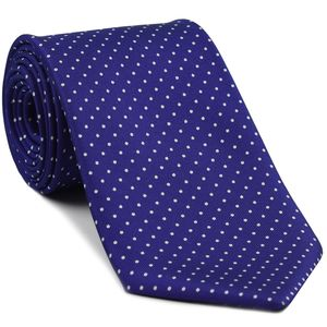 White on Purple Blue Macclesfield Print Pattern Silk Tie #MCPDT-28 (MCT-482)