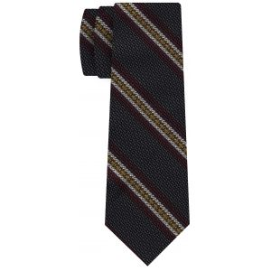 Dark Red, Yellow & Off-White on Charcoal Gray Grenadine Fina and Grossa Stripe Silk Tie #1