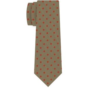 Orange Brick on Khaki Macclesfield Print Dot Silk Tie #MCDT-29