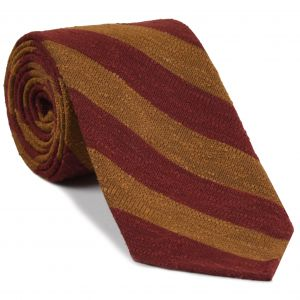 Dark Red & Dark Gold Shantung Wide Stripe Silk Tie #SHBST-1