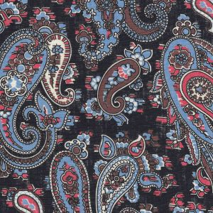 Sky Blue, Chocolate, Salmon & Off-White on Midnight Blue Paisley Print Pattern Linen Tie PLT-2