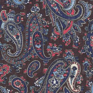 Blue, Sky Blue, Pink, Off-White & Black on Chocolate Paisley Print Pattern Linen Tie PLT-4