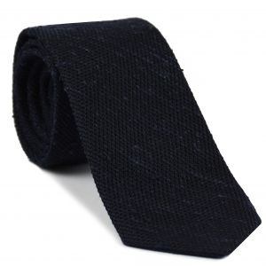 Midnight Blue Shantung Grenadine Fina Silk Tie #SHFT-1