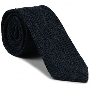 Midnight Blue Shantung Grenadine Grossa Silk Tie #SHGT-1