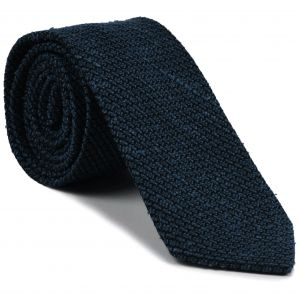 Dark Navy Blue Shantung Grenadine Grossa Silk Tie #SHGT-2