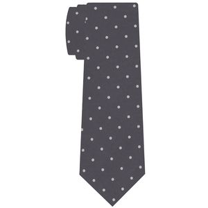 Off-White on Charcoal Gray Print Dot Silk Tie #MCDT-32