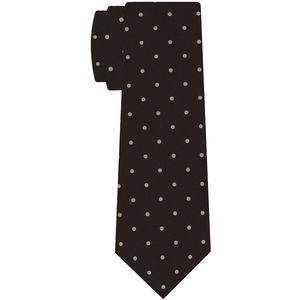 Off-White on Dark Chocolate Print Dot Silk Tie #MCDT-39