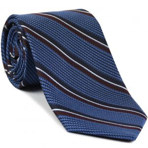 Midnight Blue, Burgundy & White on Purple Blue Grenadine Fina with Satin Stripe Silk Tie #GFMST-4