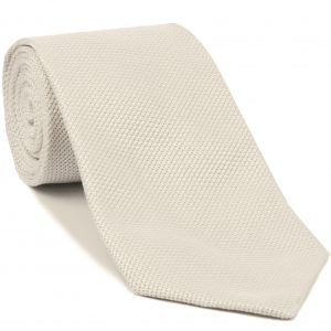 Natural White Piccola Grenadine Silk Tie #GPT-15