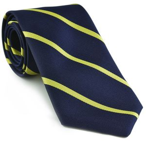 University College, Oxford Stripe Silk Tie #UKU-1 - Corn Yellow on Navy Blue