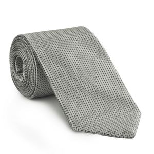 Silver & Black Formal/Wedding Silk Tie #WDT-19