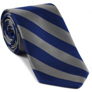 Georgetown Silk Tie #6 - Blue and Dull Gray