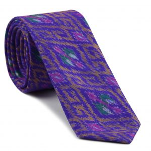 Yellow Gold / Pink / Green & White on Purple Mudmee Silk Tie #22