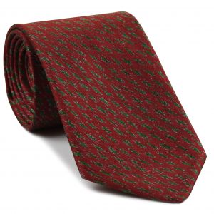 White & Green on Red Mudmee Silk Tie #25