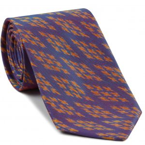 Yellow Gold on Blue with a touch of Pink Mudmee Silk Tie #30