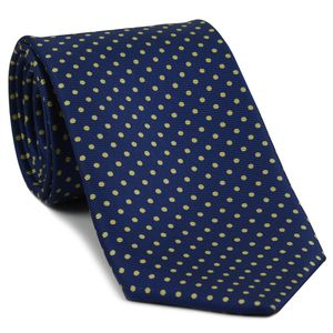 Light Yellow on Dark Blue Macclesfield Silk Tie #MCDT-11