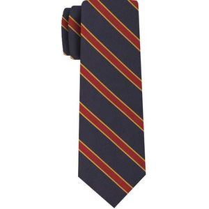 Downside School Silk Tie #ACO-21  Saffron & Bright Red on Dark navy