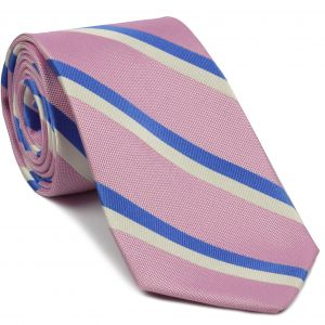English Stripe Silk Necktie #44Light Blue & White on Light Pink English Stripe Silk Tie #44