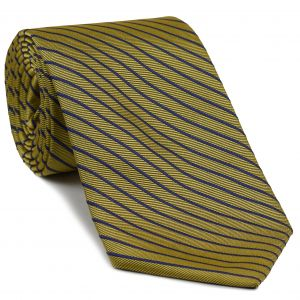 Bluish violet on Yellow Corn English Stripe Silk Tie #37