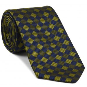Navy Blue/ Dark Olive Green & Olive Green English Geometric Silk Tie #12