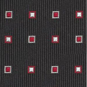 Red & White on Black English Geometric Silk Tie #10
