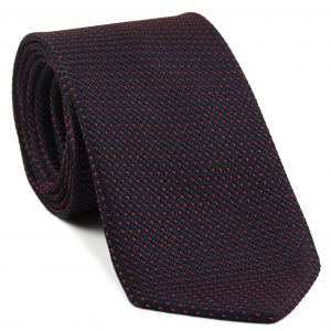 Bright Red on Midnight Blue Grenadine Pin Dot Silk Tie #2