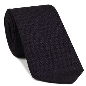 Dark Red on Midnight Blue Grenadine Pin Dot Silk Tie #3