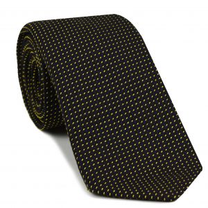 Yellow Gold on Midnight Blue Grenadine Pin Dot Silk Tie #6