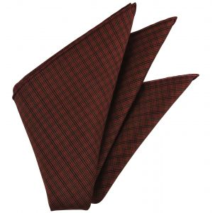 Dark Orange & Black on Burgundy Mudmee Plaid Thai Silk Pocket Square #59