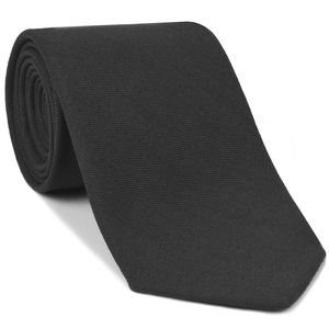 Macclesfield Challis Charcoal Gray Solid Wool Tie #9