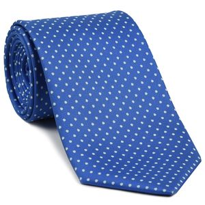 White on Sky Blue Macclesfield Printed Silk Tie #MCDT-20