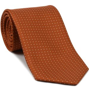 White on Burnt Orange Macclesfield Printed Silk Tie #MCPDT-20
