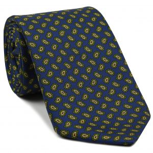 Young Leaf Green, Light Yellow & Rust on Medium Blue Macclesfield Madder Printed Silk Tie #MT-14
