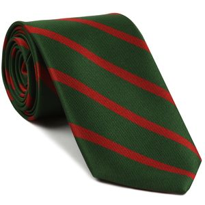 60th Foot the King's Royal Rifle Corps Stripe Silk Tie # 42 - Red on Forest Green