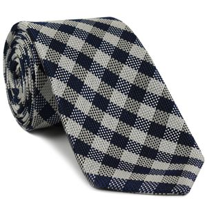 Christ Church Duster Oxford Plaid Silk Tie #UKU-12  - Navy Blue, Silver, White & Black